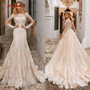 Detachable Wedding Dress.Details About Champagne Lace Tulle Mermaid Wedding Dresses Long Sleeve Detachable Bridal Gowns