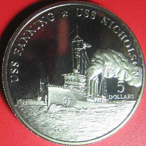 1998-MARSHALL-ISLANDS-5-USS-FANNING-NICHOLSON-US-NAVY-SHIP-DESTROYER-no-silver