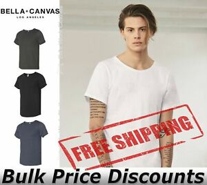 BELLA-CANVAS-Mens-Short-Sleeve-Raw-Neck-Tee-Shirt-3014-up-to-2XL