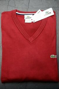 00e6e6fb76 Lacoste Homme Col V Andrinople Rouge Sweat Coton Gros & Grand XL Ue ...