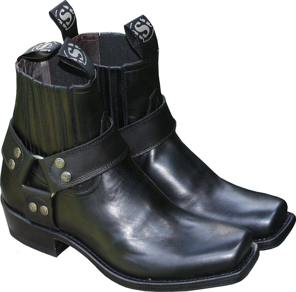 SENDRA Stiefelette Schwarz Ankle Stiefel Schuhe Biker-Stiefel Leder Schwarz Stiefelette Short Cut NEU 9d7eea