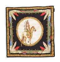 Versace Tribal Chief On Horse Black Gold Scarf Foulard Ifo9r01 It00905 I7910 on Sale