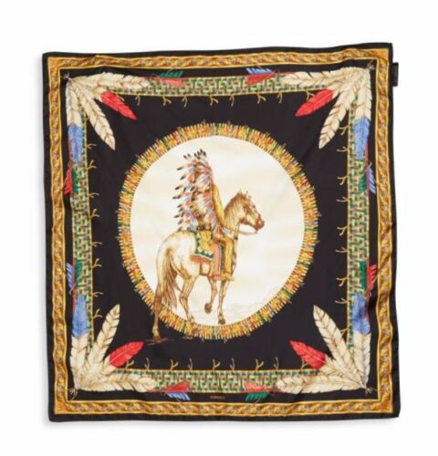 New Versace Tribal Chief on Horse Black Gold Scarf Foulard IFO9R01 IT00905 I7910