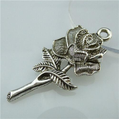 13586 Alliage 7PCS Antique Silver Tone Grande Fleur Rose Plante Love Charms Pendants