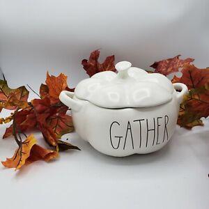 Rae-Dunn-Pumpkin-Shaped-GATHER-Serving-Dish-Artisan-Collection-Magenta-Fall