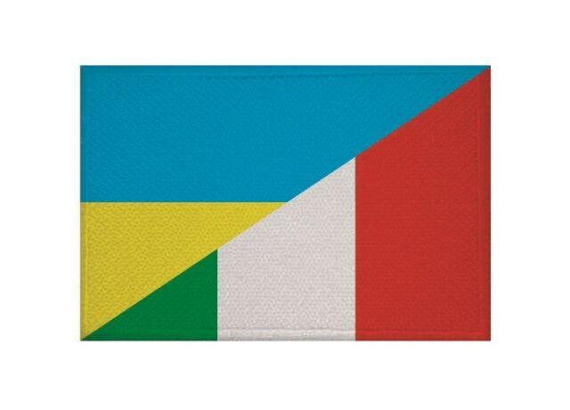 Aufnäher Ukraine-Italien Fahne Flagge Aufbügler Patch 9 x 6 cm