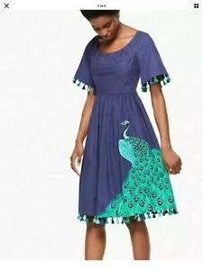Kate Spade Peacock Plume Cotton Poplin Dress Deep Sea Blue Tassels Pockets Sz 12