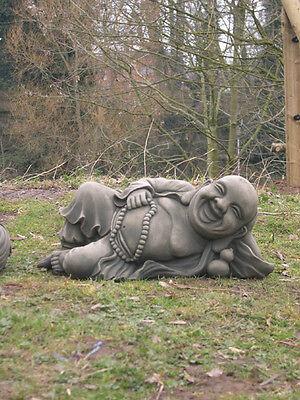 LAYING STONE JOLLY BUDDHA GARDEN STATUE ORNAMENT KOI