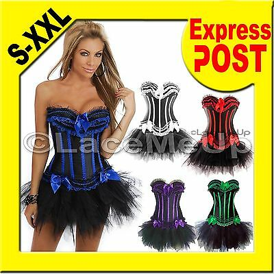 Burlesque Costume Blue Green Purple Red White Strip Corset Black TuTu PLUS SIZE