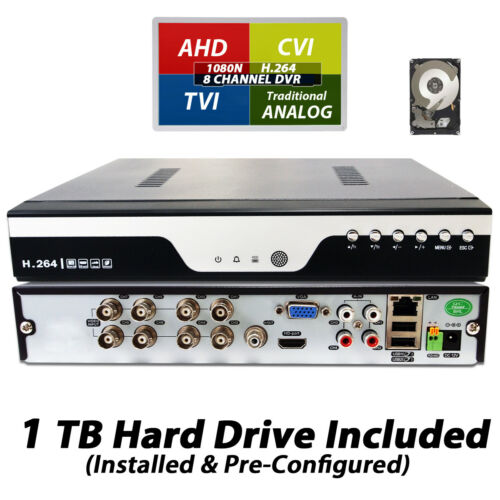 HD 8 Channel H264 DVR Cloud QR CCTV Surveillance Security Camera Recorder w// 1TB