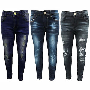 a362237df16 Image is loading Girls-Kids-Stretchy-Jeans-Jeggings-Girls-Ripped-Skinny-