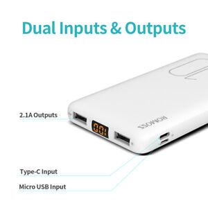 Romoss 10000mAh External Battery Portable Charger Power Bank for iPhone Samsung