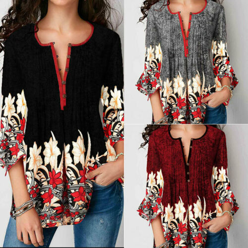 Fashion Summer Three Quarter Slim Floral Long Shirt Female Casual Elegant Blouse