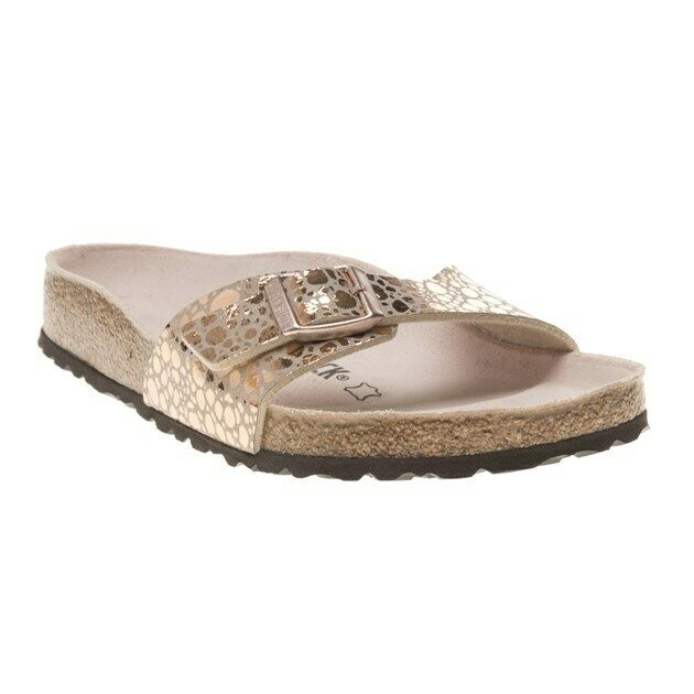 check out 18396 11c8d New Womens Birkenstock Gold Metallic Madrid Synthetic Sandals Animal Buckle  Slip