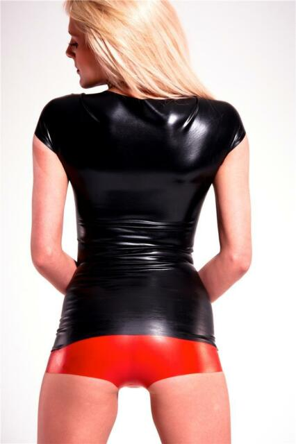 Latex Hot Pants - Black Red Translucent - Shorts - Underwear - Rubber Fetish