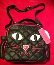Betsey Johnson Lunch Box Black Cat Kitty Face Tote Bag Insulated Quilted New