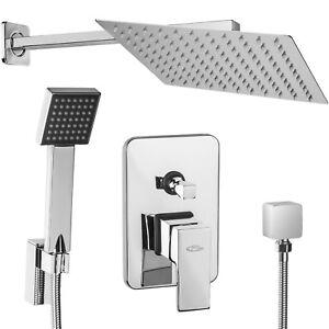 unterputz regendusche duschkopf mit handbrause set duschset berkopf regenbrause ebay. Black Bedroom Furniture Sets. Home Design Ideas