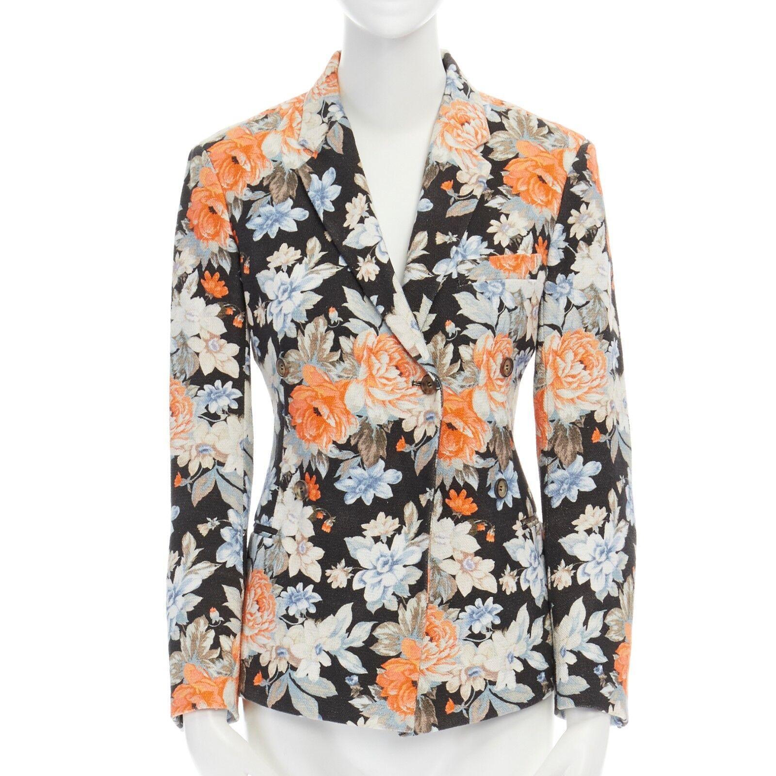 CELINE PHOEBE PHILO Estampado Floral  Chaqueta Blazer de lana de algodón Doble Abotonadura FR36  soporte minorista mayorista