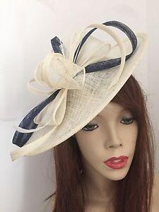 Image is loading Cream-Ivory-Navy-Hatinator-Fascinator-Saucer-Hat-Formal- 27059ef4ce1