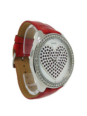 Guess 95207L4 Women's Round Analog Red Swarovski Crystal Heart Leather Watch