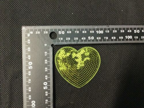 Sequin Green Heart Iron On Embroidery Applique Patch Sew Iron Badge