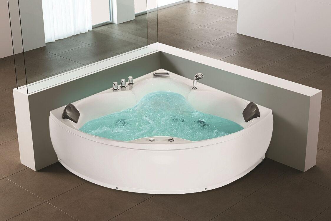 whirlpool eck badewanne mit 12 massage d sen led eckbadewanne hot tub eckmontage ebay. Black Bedroom Furniture Sets. Home Design Ideas