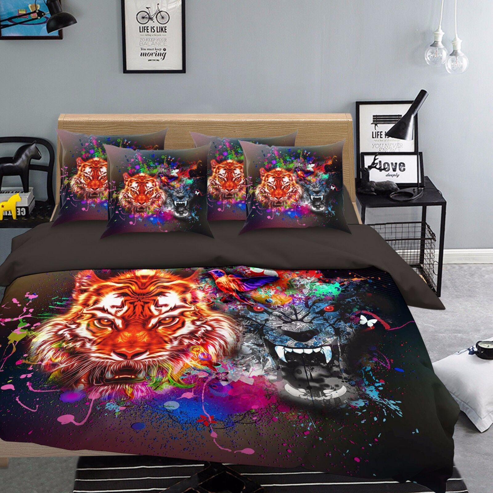 3D Tiger Zeichnen 511 Bett Kissenbezüge steppen Duvet Decken Set Single DE Carly