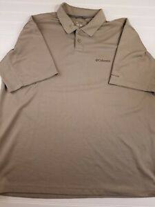 G6-Men-039-s-Columbia-Sportswear-Active-Outdoor-Polo-Extra-Large-XL-Tan-Shortsleeve