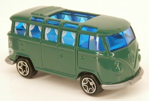 Matchbox Volkswagen Transporter Green w//Curtains Samba 23-Window Bus 1//58 Scale