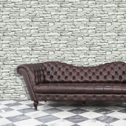 Grey White Brick Wallpaper Moroccan Stone Feature Effect Arthouse Sample