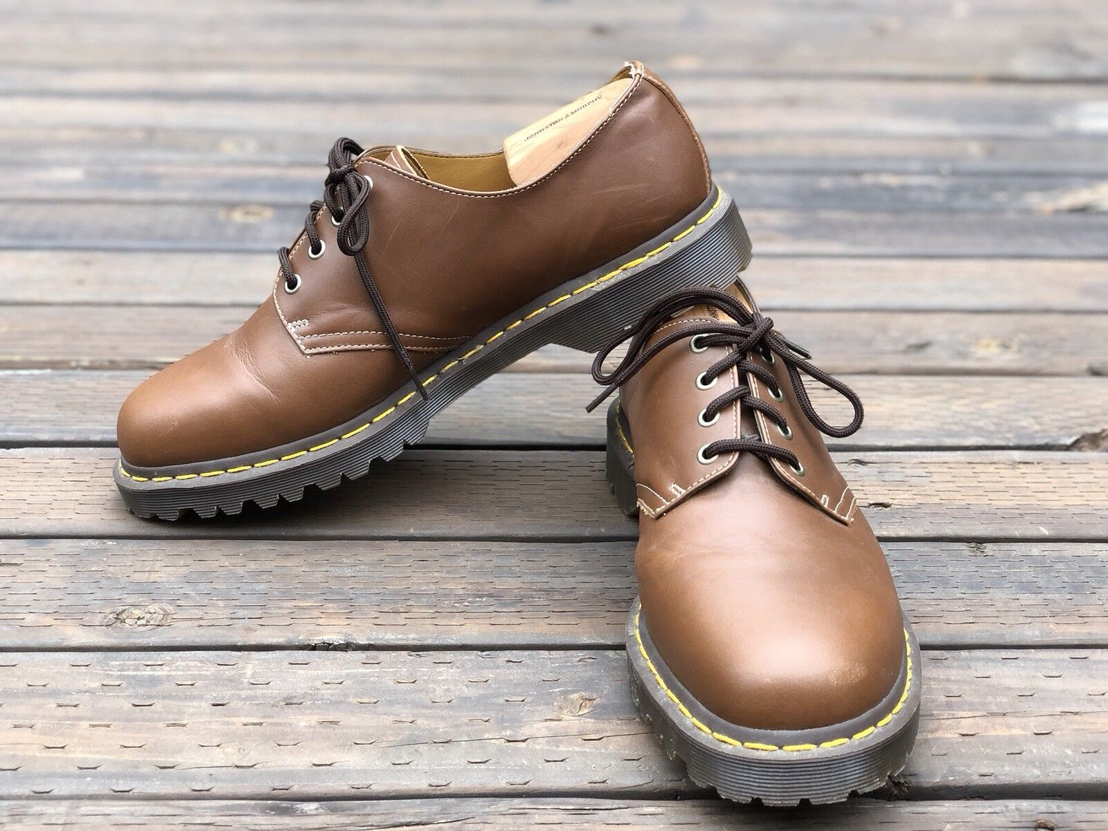 Dr Martens Uomo Brown Pelle Oxfords Classic Sole Size 13 M