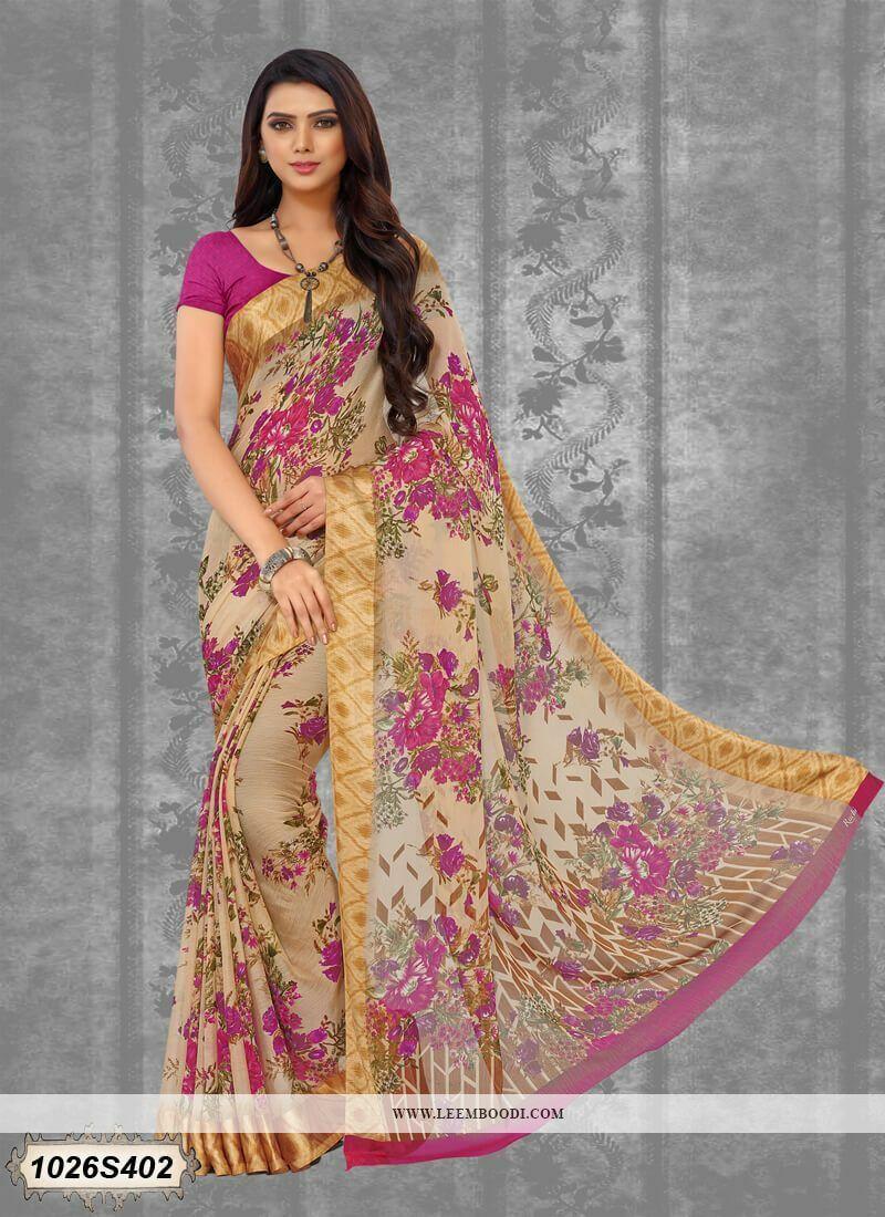 BEST SELLING Beige Floral Printed Chiffon Bollywood Saree Designer Sari L497