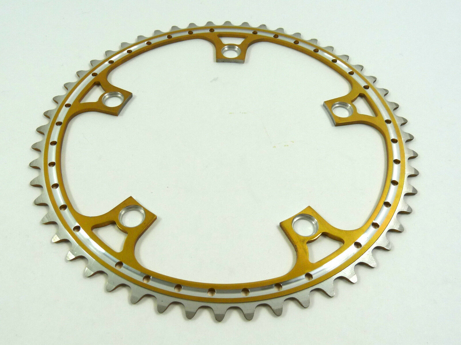 Rino gold Anodized Chainring 52T 144 Bcd Drilled Fits Campagnolo Cranksets NOS
