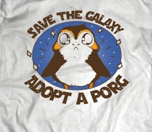 "Star War/'s /""SAVE THE GALAXY adopter un Porg/"" Movie T-Shirt Full Front design **"
