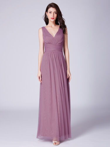 Ever-Pretty US V-Neck Mesh Wrap Long Bridesmaid Dresses A-Line Wedding Prom Gown