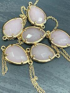 "Vintage Long Sweater Necklace Chain Beaded Gold Tone 34"" Rose Quartz Stone"