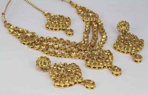 Indian Fashion Jewelry Wedding Kundan Ethnic Necklace Earring Tikka Set Women