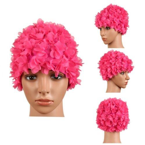 Ladies Vintage Floral Woman Swim Cap Petal Retro Swimming Hat Flower Bathing Cap