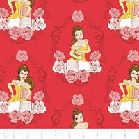Disney Beauty & The Beast Belle In Ruby Red 100% Cotton Fabric By The Yard