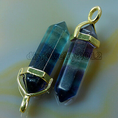 Wholesale Natural Gemstones Gold Cap Healing Pointed Reiki Chakra Pendant Beads
