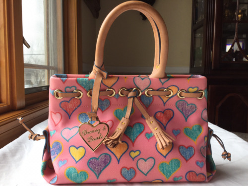 Dooney & Bourke TINY TASSEL Tote PINK HEARTS SATCH