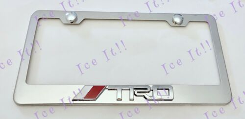 Toyota TRD 3D Emblem Stainless Steel License Plate Frame Rust Free W// Bolt Caps