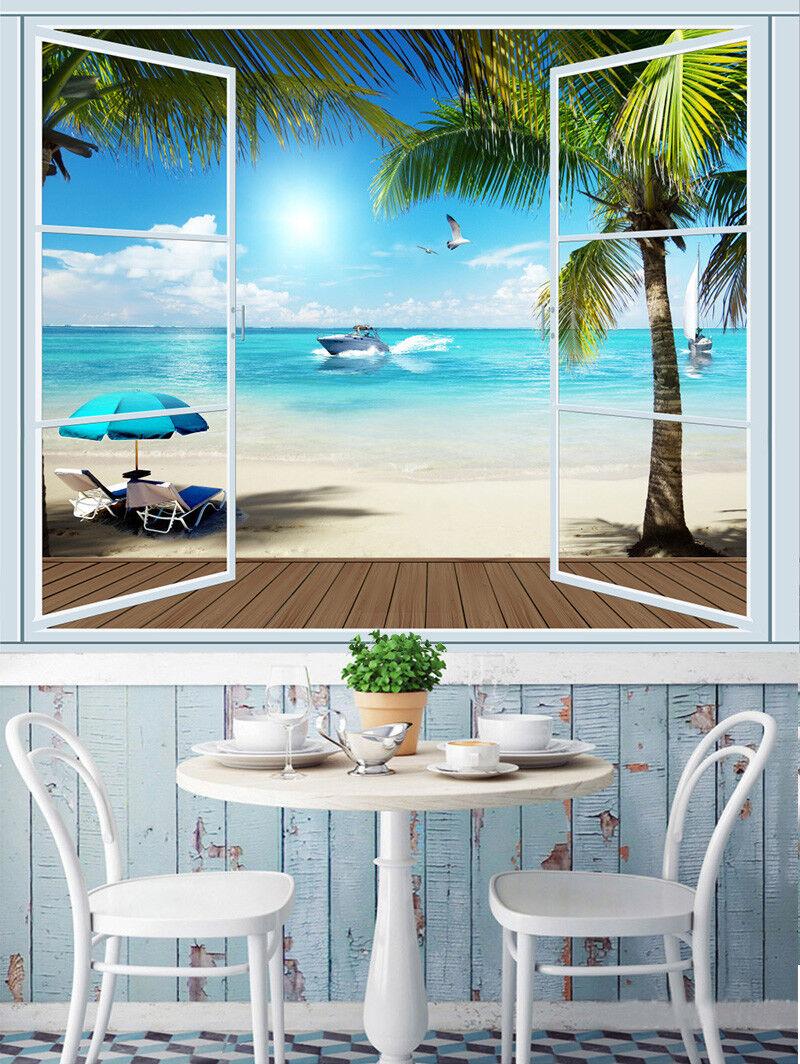 3D Fenster Strand 688 Tapete Tapeten Mauer Foto Familie Tapete Wandgemälde DE