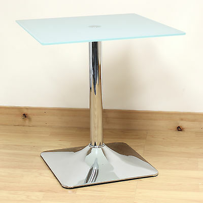 Hartleys White Glass Square Top Side/End/Coffee Table Lounge/Bedroom/Living Room