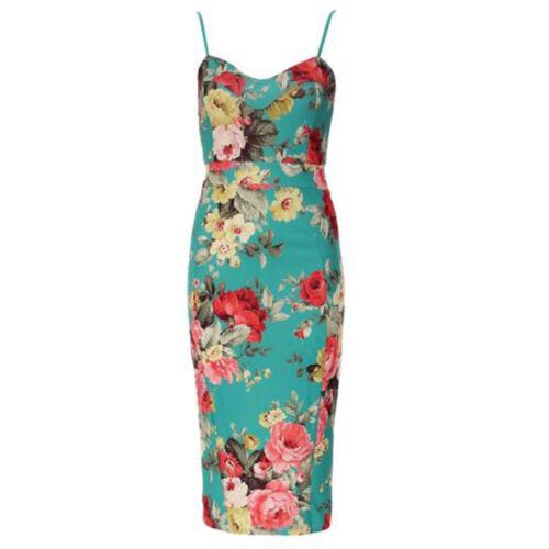 Womens Celeb Green Floral Print Strappy Slit Back Bodycon Pencil Midi Dress 8-26