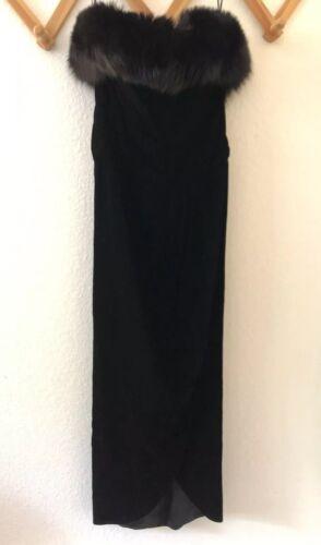 Vintage Lillie Rubin Fox Fur Trimmed Black Velvet
