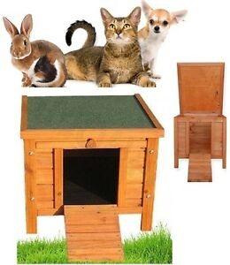 wooden cat shelter dog rabbit small pet bed kennel hutch