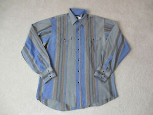 VINTAGE-Wrangler-Pearl-Snap-Shirt-Adult-Large-Blue-Gray-Rodeo-Western-Cowboy-H