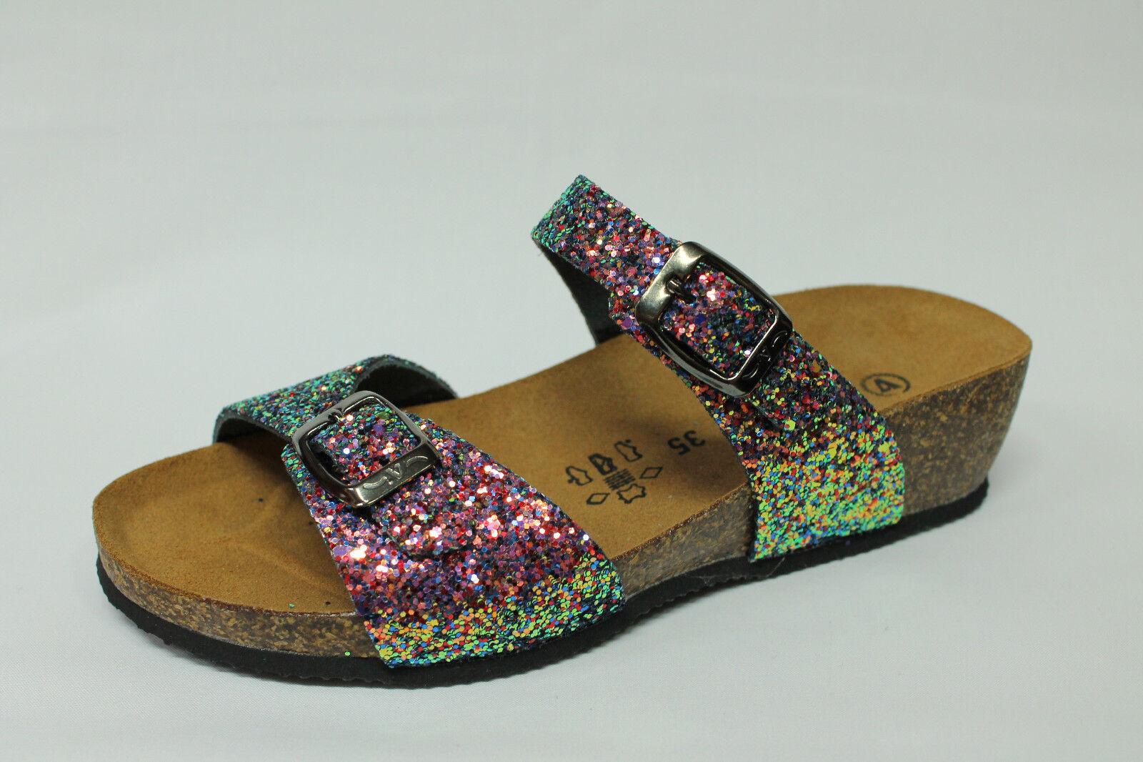 Sandale ciabatte Valleverde G51289 glitter porpora zeppa 4 cm Made in