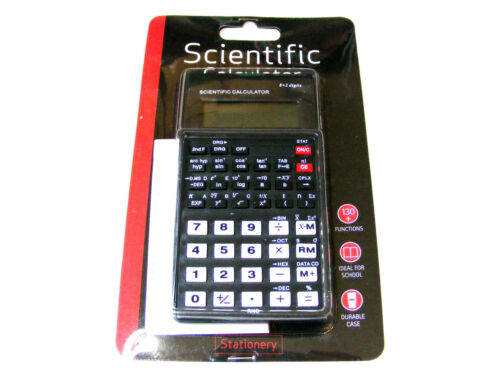 BLACK SCIENTIFIC SCHOOL CALCULATOR WITH SLIDE CASE BATTERY POWERED 130 FUNCTIONS